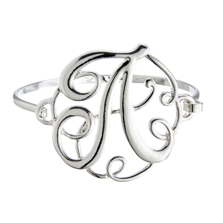 PammyJ Silvertone Initial Bangle Bracelet 21030