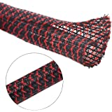 Alex Tech 25ft - 3/8 inch Cord Protector Wire Loom Tubing Cable Sleeve Split Sleeving for USB Charger Cable Power Cord Audio Video Cable – Protect Cat from Chewing Cords - BlackRed