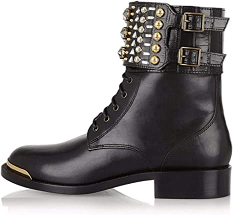 Ladies Rivet Retro Martin Boots,Black