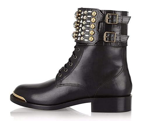 Shiney Botines Planos Negros para Mujeres, Damas De Gran Tamaño Rivet Retro Martin Boots: Amazon.es: Zapatos y complementos