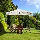 UHINOOS 9 ft Patio Umbrella,Outdoor Umbrella with Crank and 8 Ribs, Polyester Aluminum Alloy Pole Tilt Button Outside Table Umbrella, Fade Resistant Water Proof Patio Table Umbrella