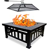 QuliMetal Outdoor Fire Pit, Wood Burning Fire Pit BBQ Grill Patio Stove with Spark Screen Cover, Poker, Log Grate for Garden