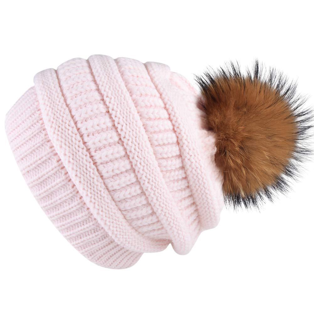 f922c8ca0f9 ... Womens Winter Knit Beanie Hat Slouchy Skull Cap Real Fur Pom Pom Hats  Cap For Girls ...
