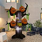 8 Foot Halloween Inflatable Decoration Airblown Spooky Dead Tree and 4 Scary Pumpkins with LEDs for Home Yard Garden Indoor and Outdoor Decor