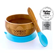 bamboo bamboo Easy Feed Baby Suction Bowl and Spoon Set, Stay Put Feeding Bowl, Natural Bamboo (Blue)