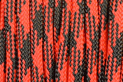 BoredParacord Brand Paracord/Parachute Cord 7-Strand, 550 Lb. Break Strength Guaranteed U.S. Made, Type III - Black Widow (50 feet) (Widow Black Tightly)