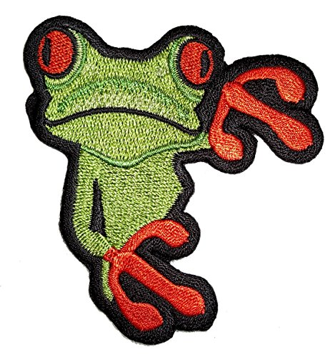 (Leather Supreme Green and Orange Tree Frog Embroidered Biker Patch-Green-Medium)