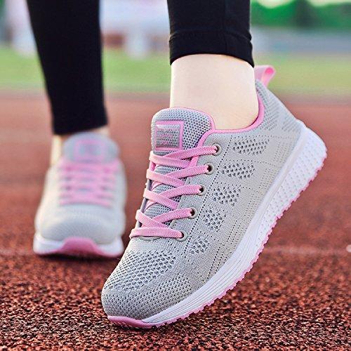 LILY999 Zapatillas de Deportivos de Running Para Mujer Gimnasia Ligero Sneakers Fitness Gris