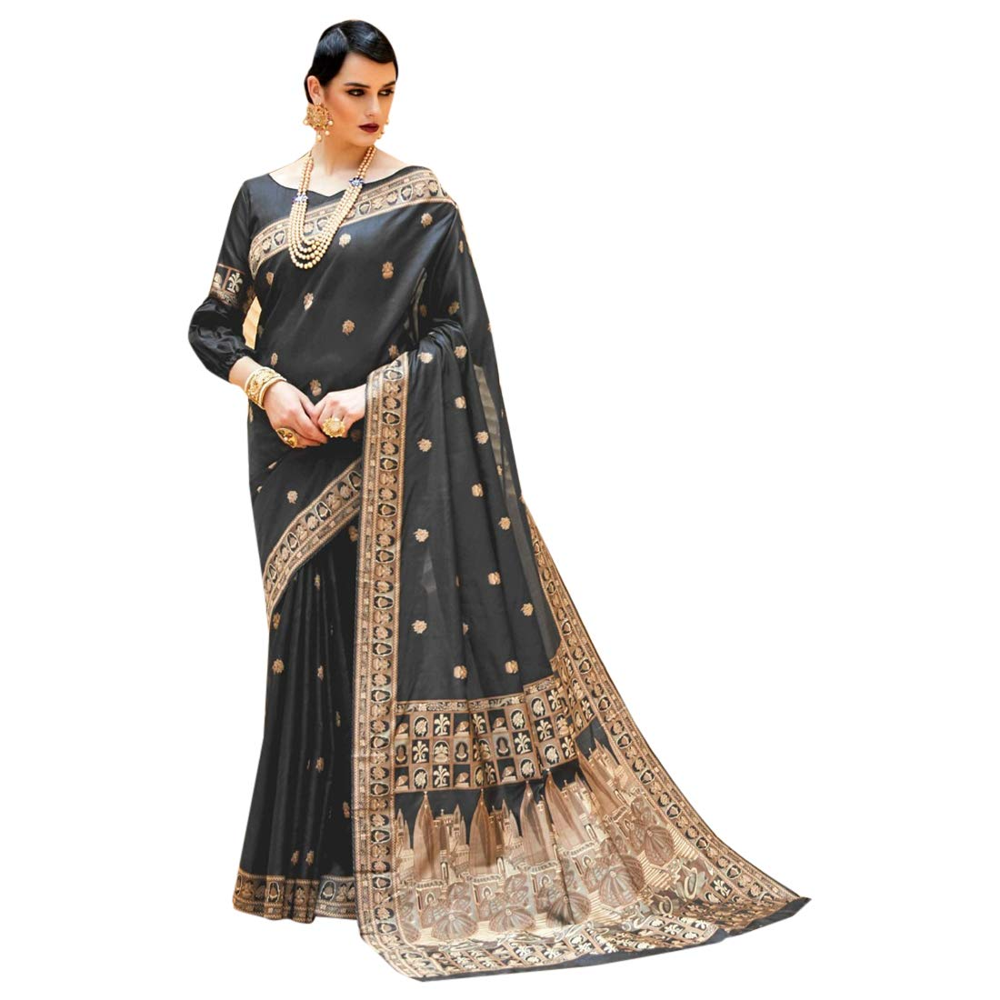 Indian Ethnic Black Royal Silk Saree With Blouse Rich Pure Party Wear 7344