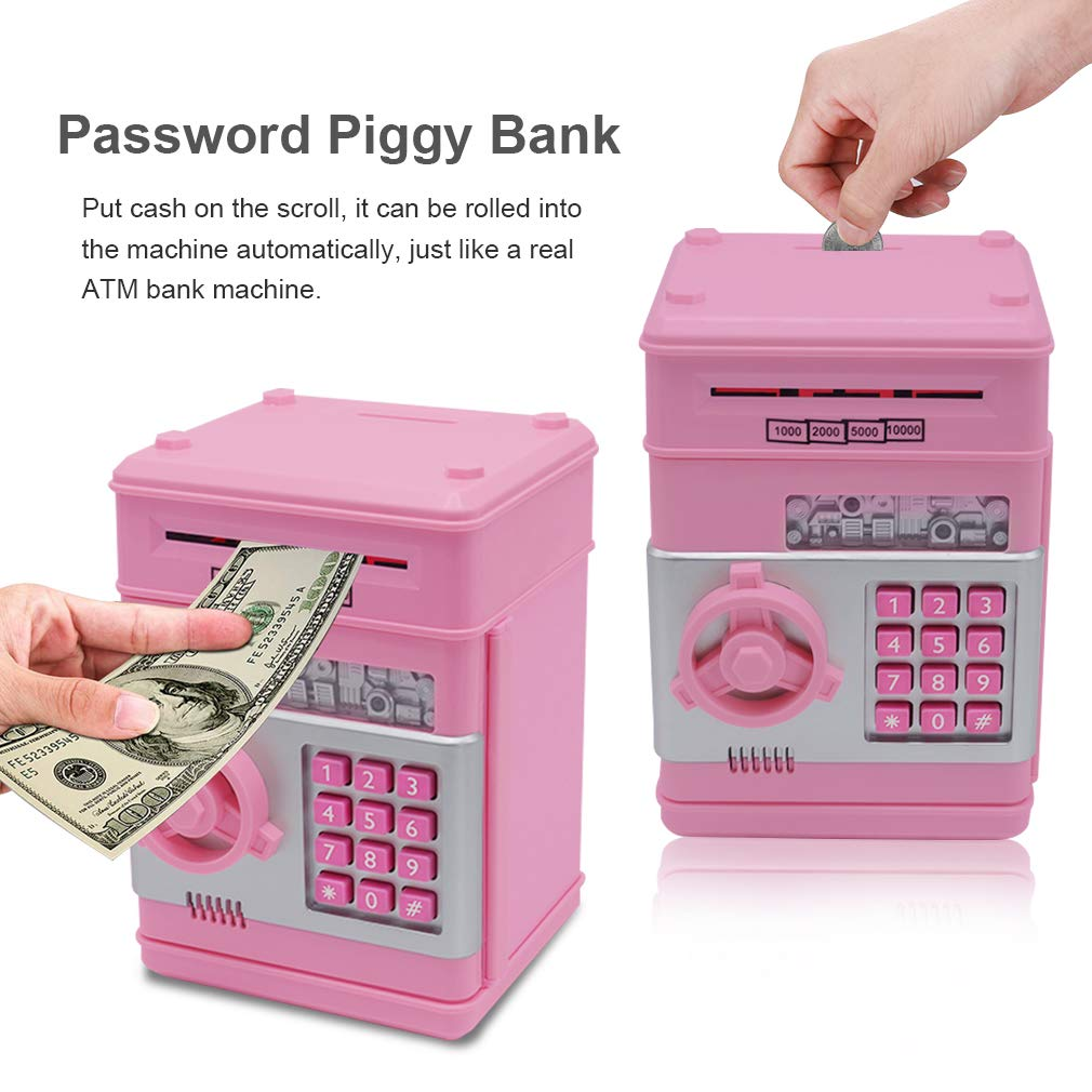 Password Piggy Bank Digital Electronic Money Bank Mini ATM Cash Coin Saving Can Toys Birthday Gifts for Kids Silver Black