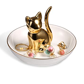 Cat or dog ring jewellery dish gift present trinket stand porcelain silver gold