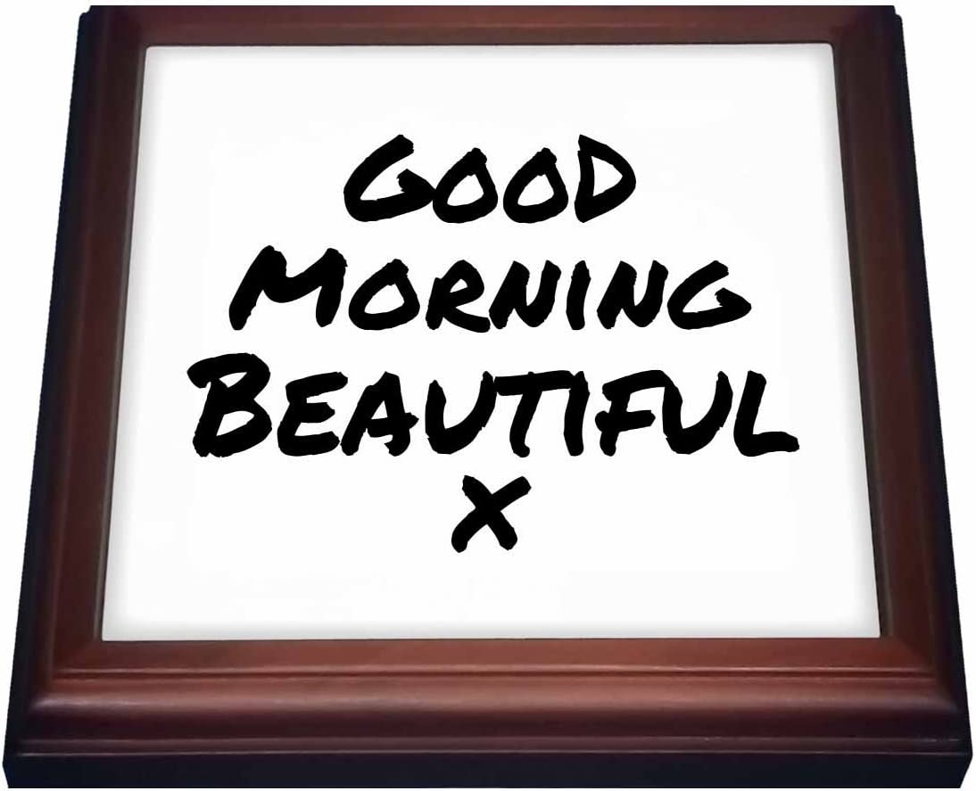 8 x 8 Brown 3dRose trv/_195574/_1 Good Morning Beautiful x-nice way to start your day-feel good note-Trivet with Ceramic Tile