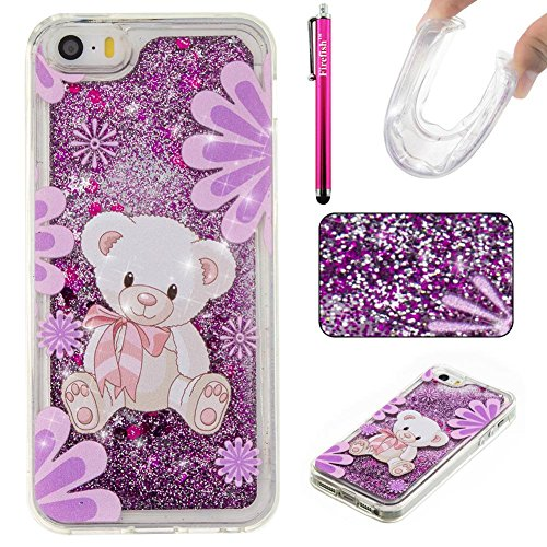 iPhone 5C Case, Firefish Slim Sparkle Shock Absorption Slim Bumper Cover Anti-Slip Soft Silicone Protective Skin for Girls Children Fits for Apple iPhone 5C -L-Bear
