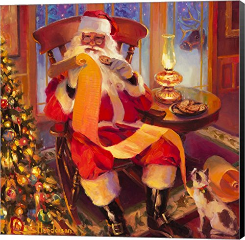 Santa Christmas List by Steve Henderson Canvas Art Wall Picture, Museum Wrapped with Black Sides, 24 x 24 inches