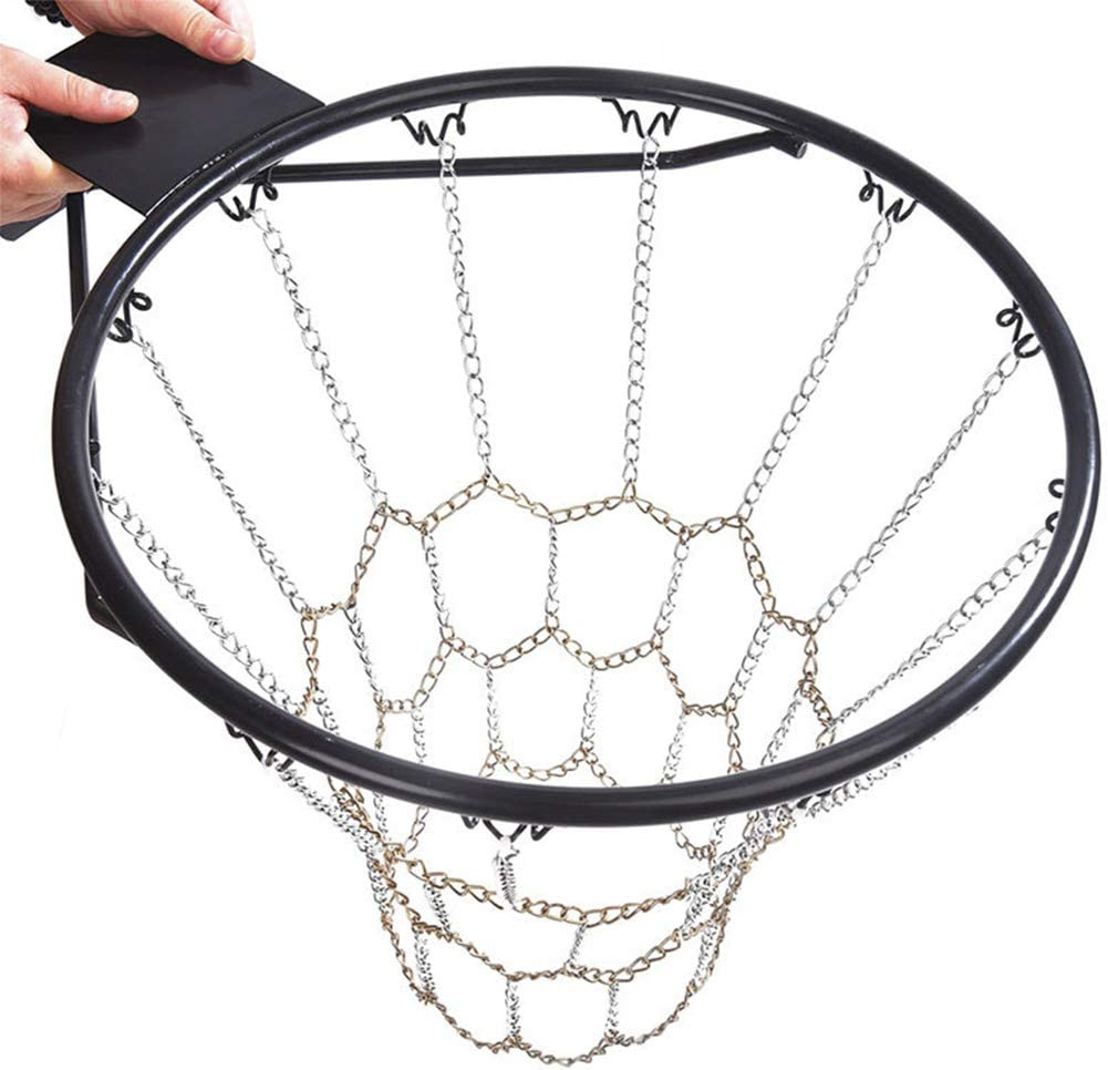YIHOME Heavy Duty Galvanized Steel Chain Basketball Net, Rust Proof, 12 Hooks Standard Basketball Net Hoops for Outdoor Or Indoor Basketball Hoop Sports Goods, Length 55cm