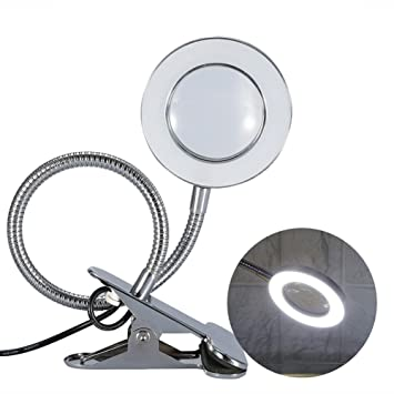 Magnifying Lamp, Desk Magnifier LED USB Tattoo Beauty Magnifier Lamp, 2.5X  Cold Light