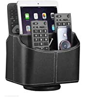 Remote Control Holder 360 Degrees Rotatable Desk Stationery Supply Organizer PU Leather Desktop Storage Box for…