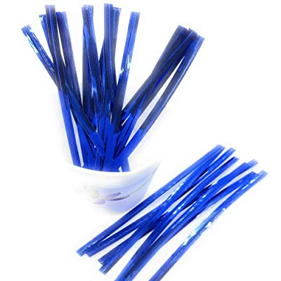 "Weststone 1000pcs 4"" Blue Metallic Twist Ties foil Twist Ties for Cello Bags Treat Bags in Birthday Party Wedding Party : Garden Twist Ties : Garden & Outdoor"