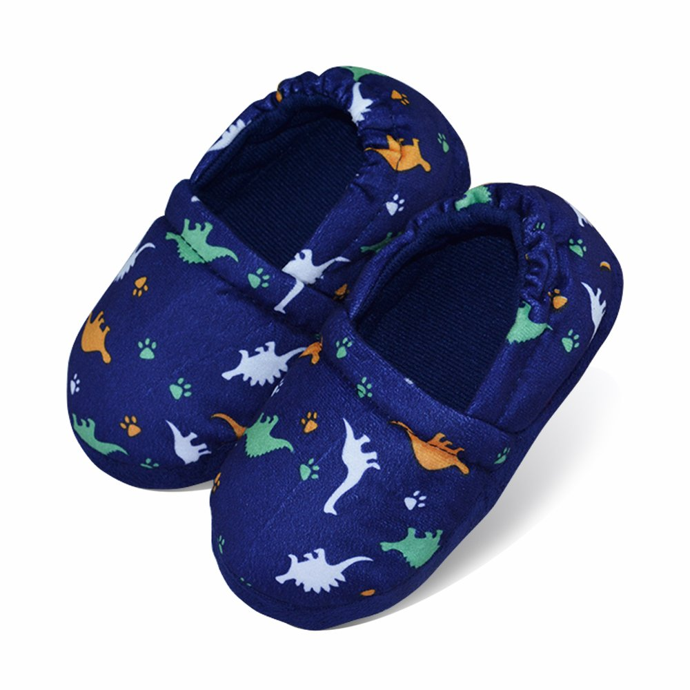 LA PLAGE Boys/Little Kid Winter Warm Indoor Slip-on Slippers with Hard Anti-Slipping Sole Size 9-10 US Dinosaur