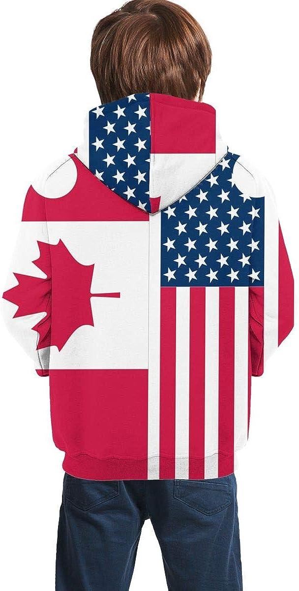 NTQFY American and Canada Flag Kids Hoodie Soft Hooded Sweatshirt Loose Pull Over Hoodie