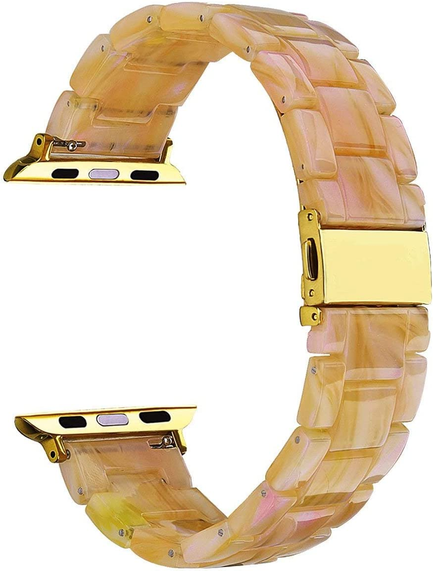 V-MORO Compatible Apple Watch Band 42mm 44mm Women - Resin Apple Watch Band Bracelet Metal Stainless Steel for Apple Watch Series 5 Series 4 Series 3 Series 2 - Pearly Floral Pink