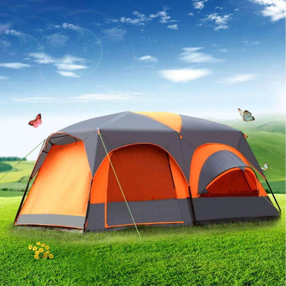 ZZPEO 8-12 Personnes Double Couche Un Hall Deux Chambres Imperméable Super Forte Tente De Camping Grand Gazebo Grande Tente  -