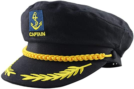 Adjustable Navy Marine Yacht Boat Ship Sailor Captain Fancy Costume Hat Cap S!