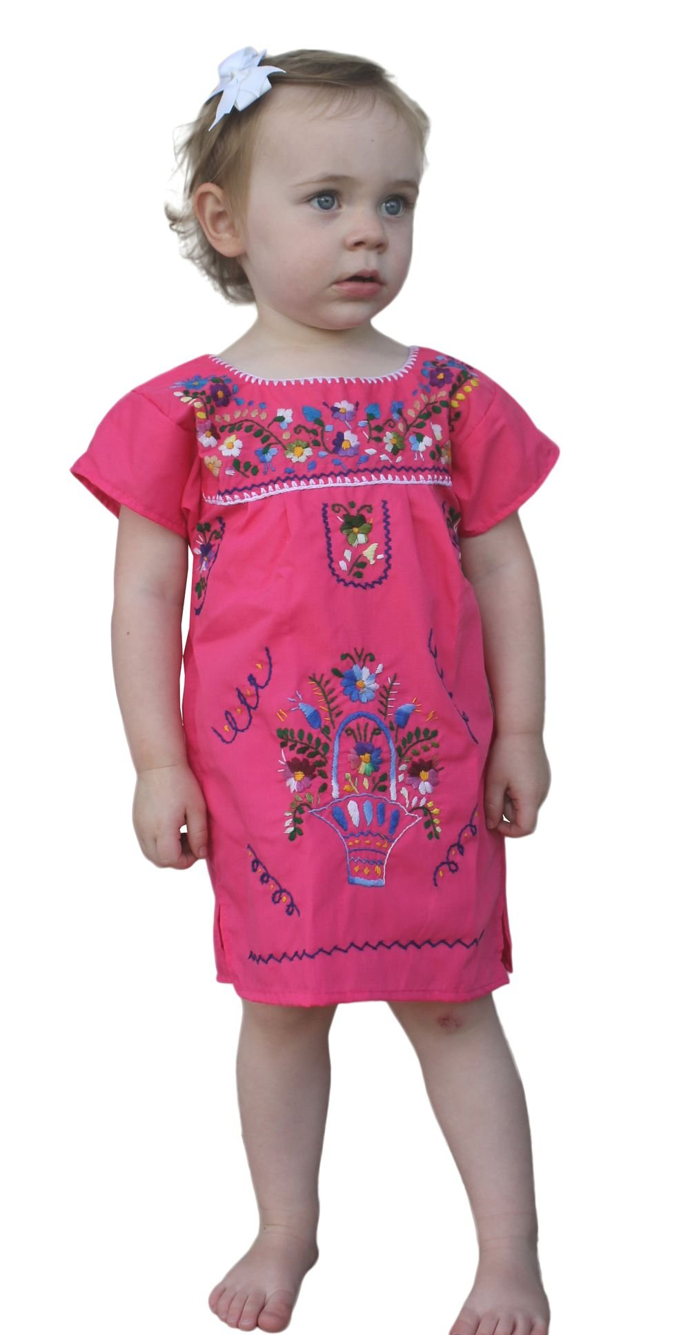 Mexican Peasant Puebla Dress Youth Girls, Pink, Size 6