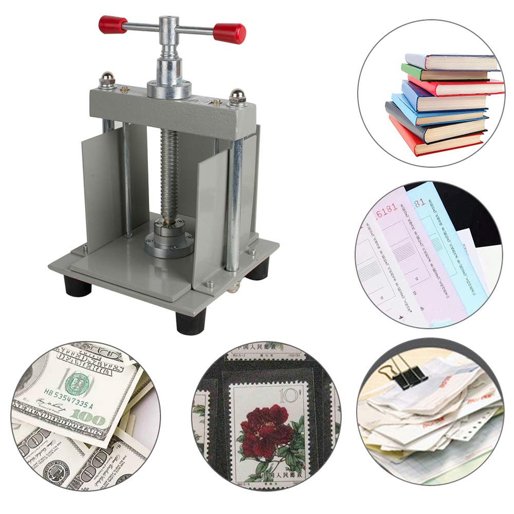 Funwill A4 Manual Flat Press Machine, Manual Flat Paper Press Machine Nipping Machine A4 Steel Bookbinder Press Screw Flattening Machine for A4 Size Bills, Albums, Archives, Books, Stamps & Money