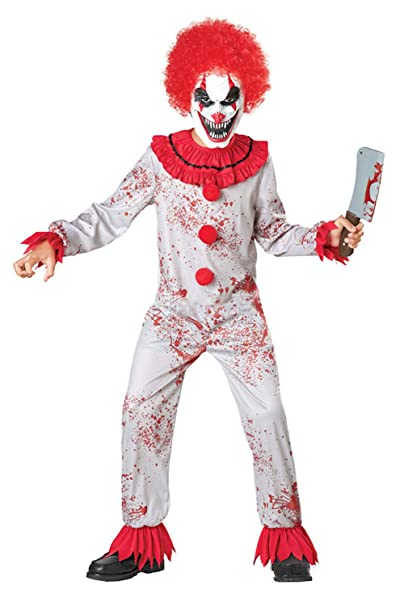 COSMOVIE Killer Clown Costume for Child Scary Clown Jumpsuit Boys Halloween  Cosplay Makeup Costumes