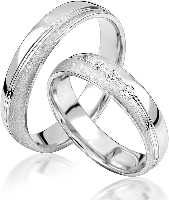 JC alianzas alianzas de anillos de compromiso Amistad Anillos Plata de ley 925 * Incluye Funda y circonita piedras * S052 de S: Amazon.es: Joyería