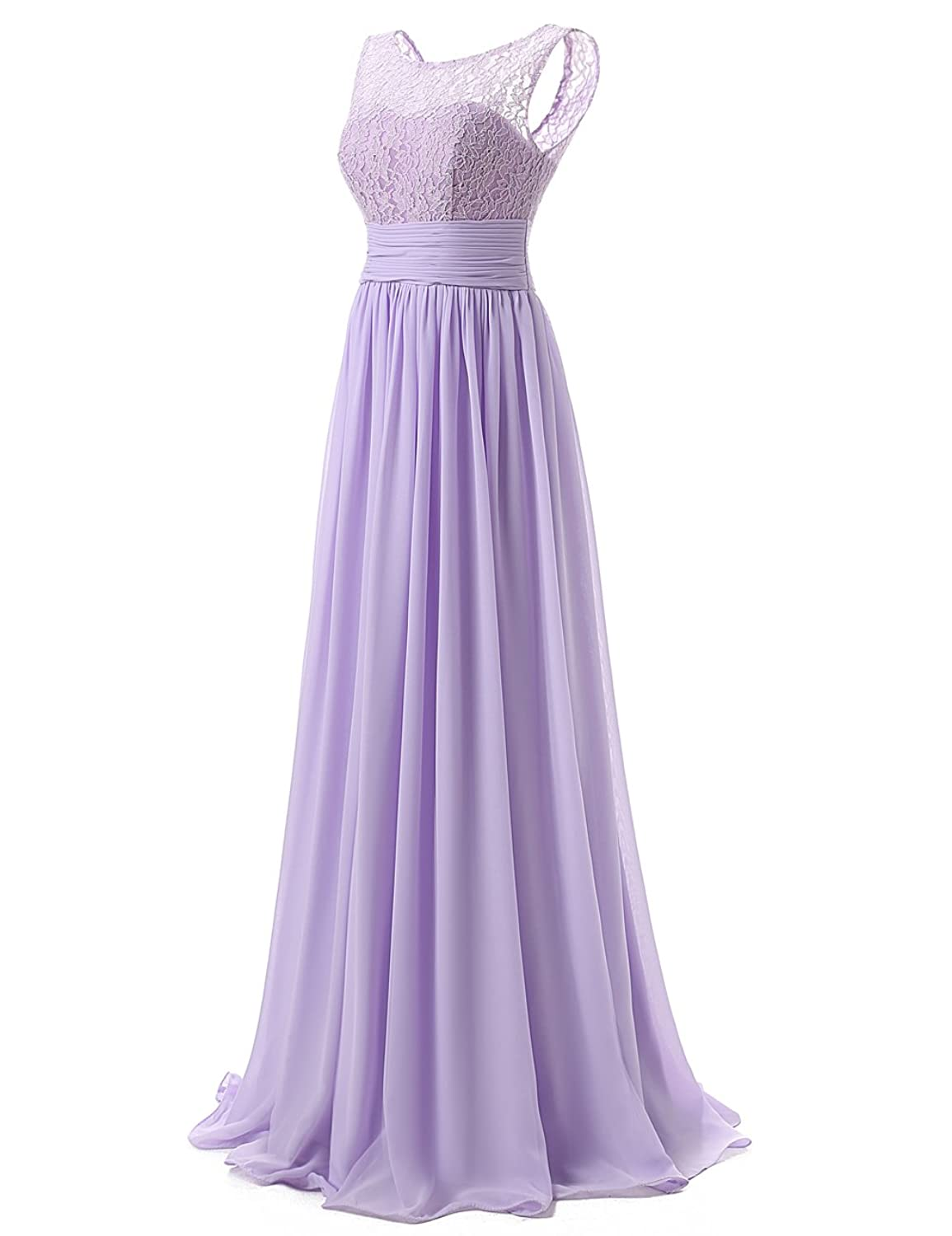 DRESSTELLS Long Prom Dress Scoop Bridesmaid Dress Lace Chiffon ...