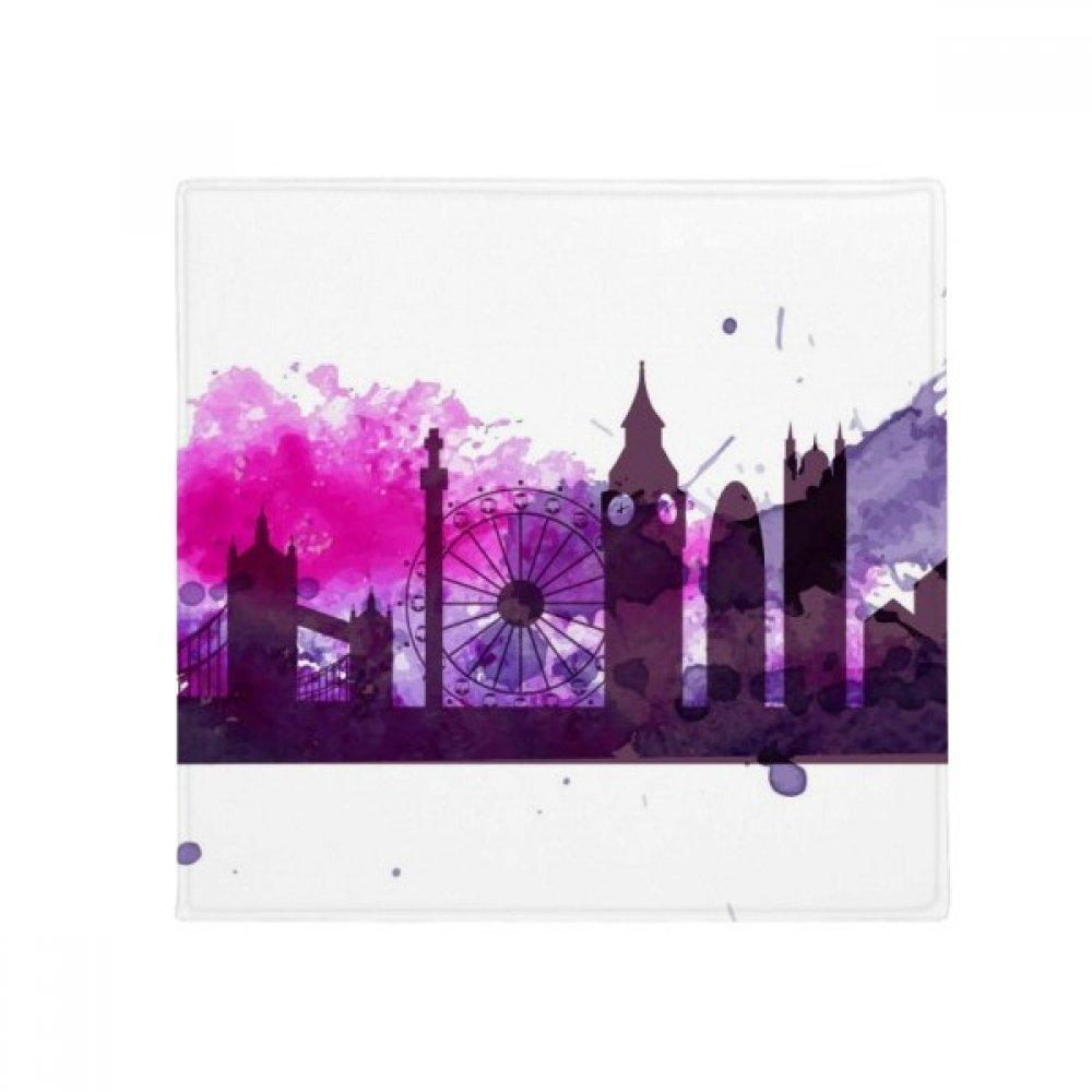DIYthinker Regno Unito Inghilterra Londra Purple Watercolor Anti -slip Floor Pet Mat Square Home Kitchen Door 80Cm Gift