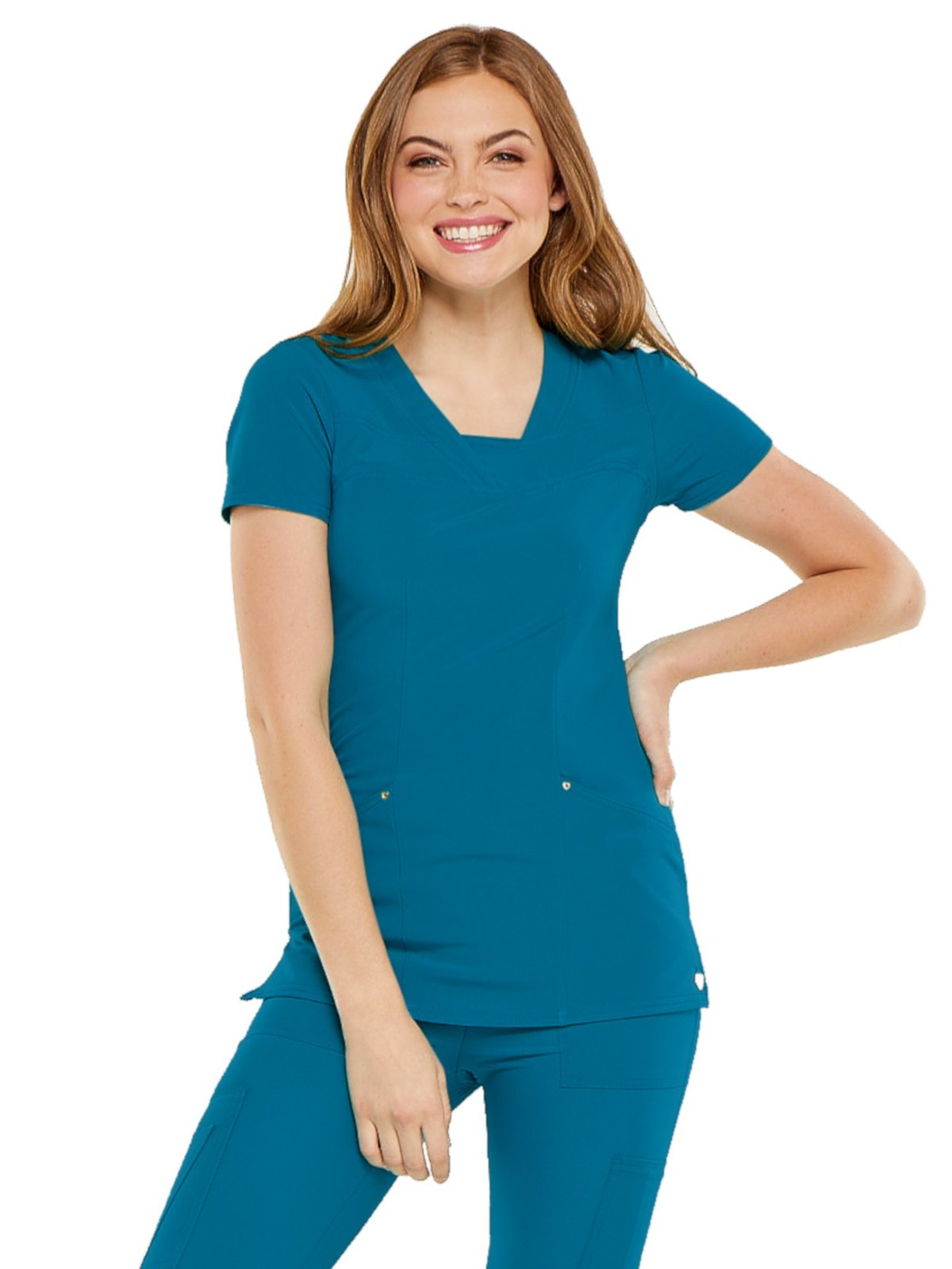 HeartSoul Love Always Women's V-Neck Solid Scrub Top X-Small Caribbean Blue