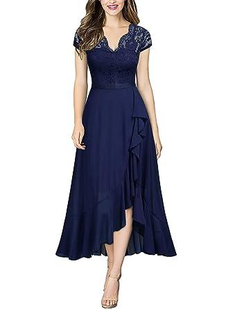 c864cda066b Miusol Damen Elegant Spitzenkleider Hochzeit Brautjungfer Chiffon  Abendkleider  Amazon.de  Bekleidung
