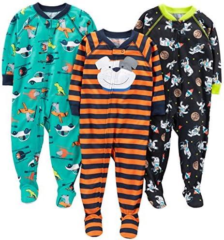 Pack de 3 Simple Joys by Carters 3-Pack Loose Fit Flame Resistant Fleece Footed Pajamas Beb/é-Ni/ñas