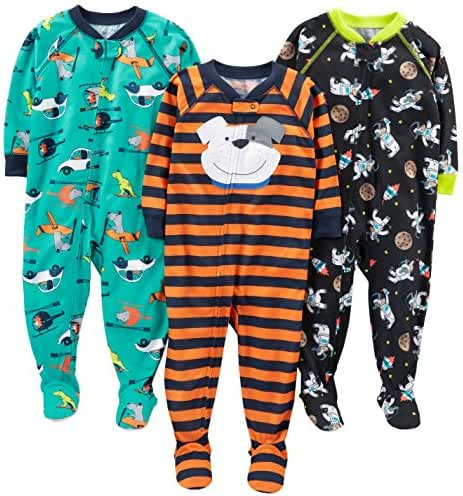 Simple Joys by Carter's Baby Boys' 3-Pack Loose Fit, Light Weight Polyester Footed Pajamas