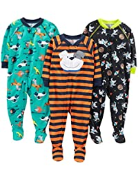 Baby Boys' 3-Pack Polyester Footed Pajamas