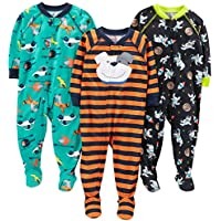 Simple Joys by Carter's Baby and Toddler Boys' 3-Pack Loose Fit Polyester Jersey Footed Pajamas