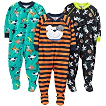 Simple Joys by Carter's Baby Boys' 3-Pack Polyester Footed Pajamas
