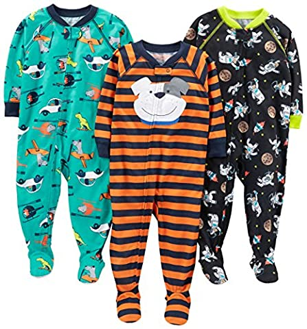 Simple Joys by Carter's Baby Boys' 3-Pack Loose Fit, Light Weight Polyester Footed Pajamas, Space/Dog/Vehicles, 18 - Infant Footed Sleepwear