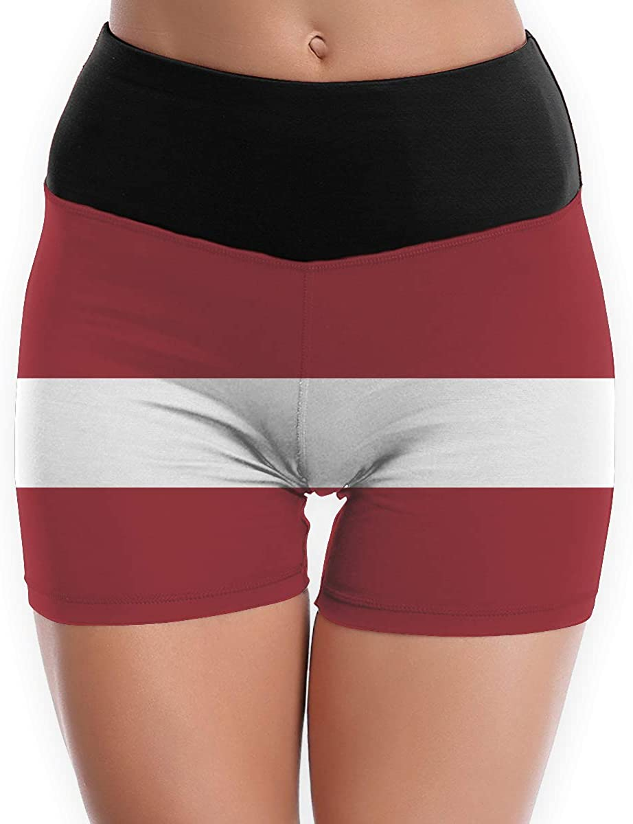 LDGT@DU Womens Yoga Shorts Latvia Flag High-Waist Bike Yoga Shorts
