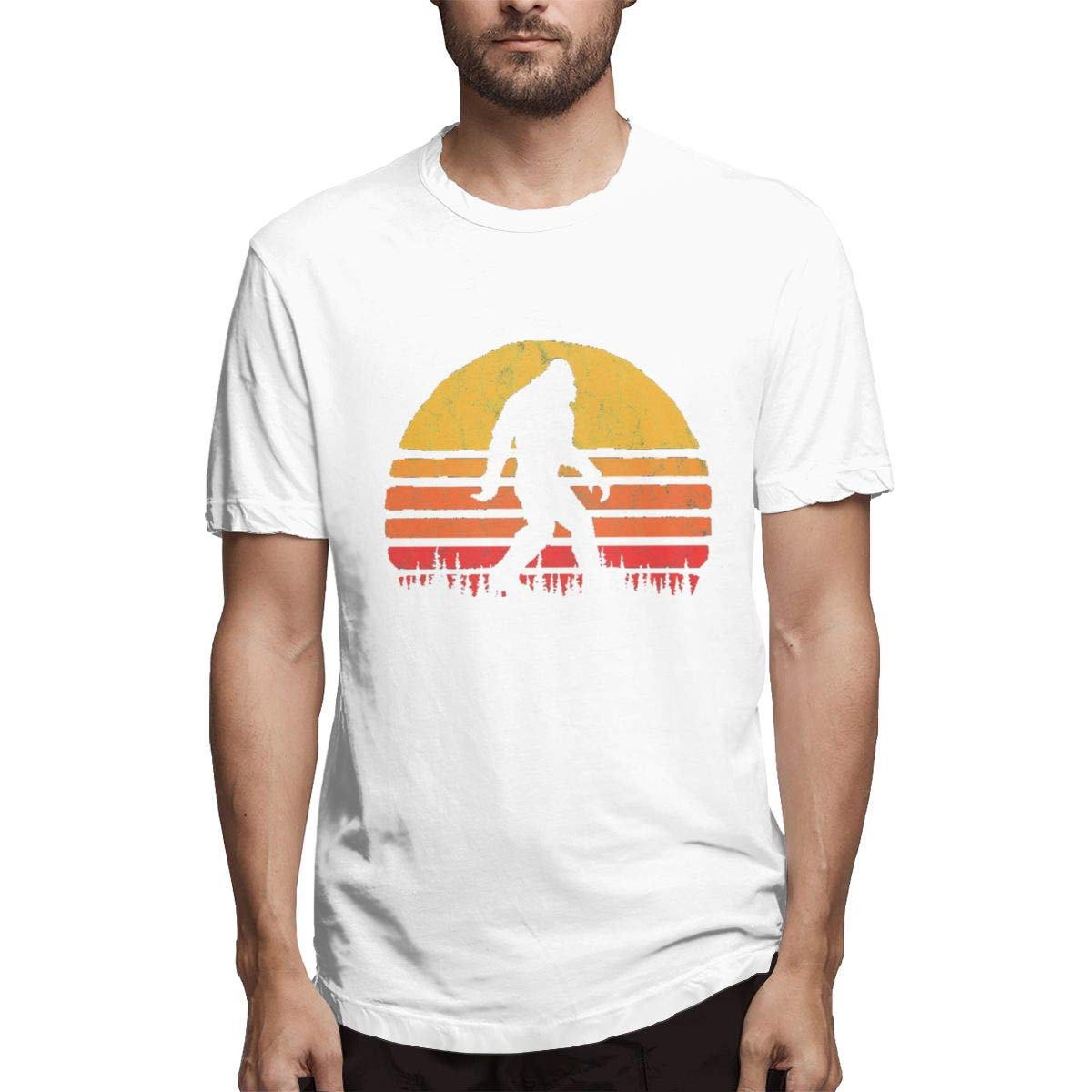 LANBRELLA Mens Retro Bigfoot Silhouette Sun Casual Crew-Neck Short Sleeve T-Shirts for Men