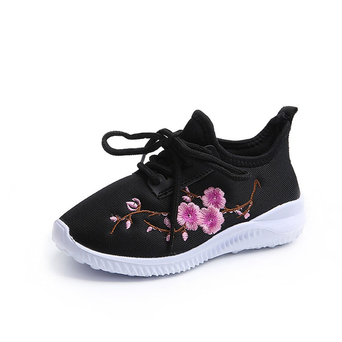 ON Toddler Baby Girls Sneakers Casual Flower Embroidery Breathable Walking Shoes