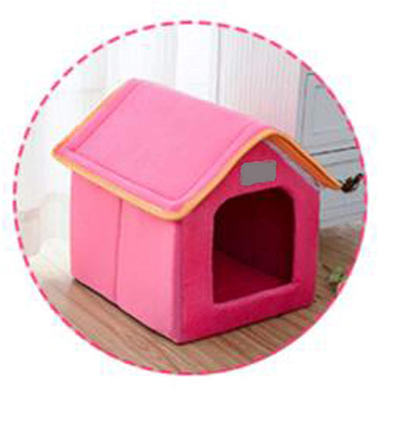 Pink 61cmx47cmx45cm pink 61cmx47cmx45cm Pet House Foldable Bed with Mat Soft Spring Leopard Dog Puppy Sofa Cushion House Kennel Nest Dog Cat Bed for Small Medium Dogs