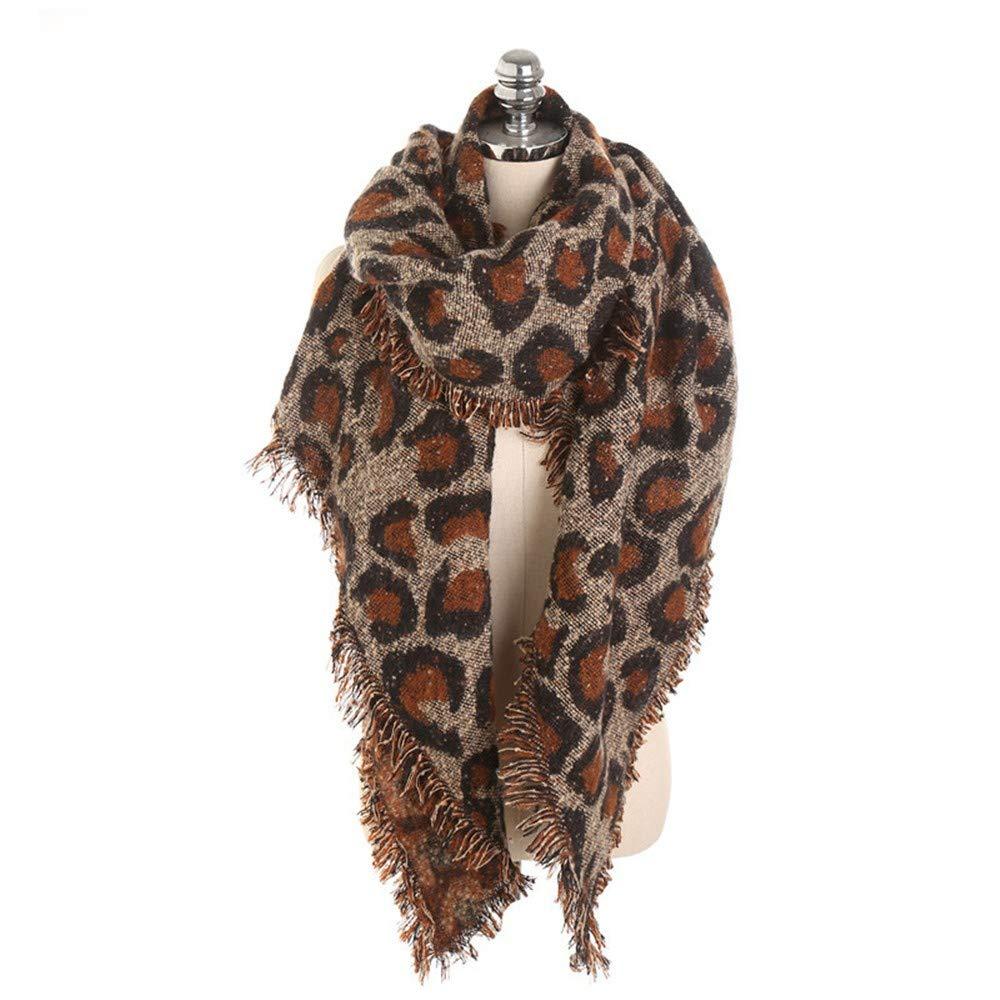 Hiroo Elegante Scialle Autunno Da donna Pashmina Sciarpa Stole Sciarpa lunga in morbido cashmere con nappa leopardata Coprispalle a scialle Leopardo Stampato Inverno