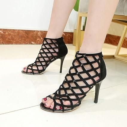 df3d527ff6d8ef LEERYAAY Fashion Women s Summer Sexy Fish Mouth Shoes Non-Slip Grid High  Heel Sandals