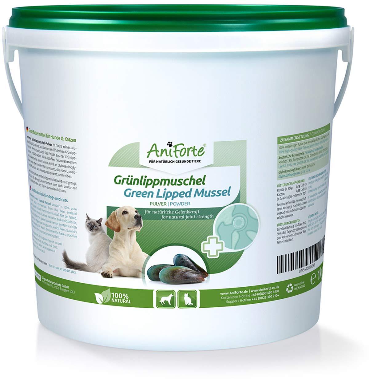 AniForte Vert Lipp Coquillage 1kg, Pour les Articulations, Nouvelle Joie de Mouvement, Pour Chiens et Chats Görges Naturprodukte GmbH