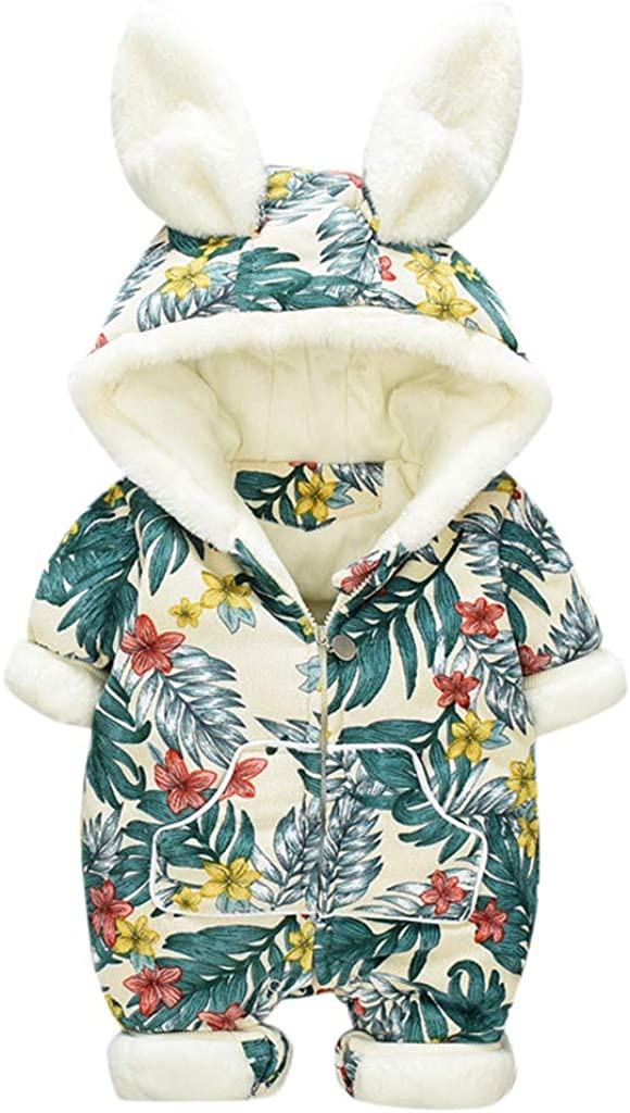 Threecows Babysuits Newborn Baby Cartoon Ear Fleece Jumpsuit Infant Girl Boy Zipper Romper Jumpsuit Playsuit Outfits