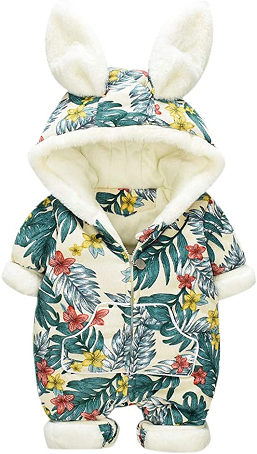 DorkasDE Baby Strampler Schneeanzug Junge M/ädchen Overall Jumpsuit Winter Babykleidung mit Kapuze